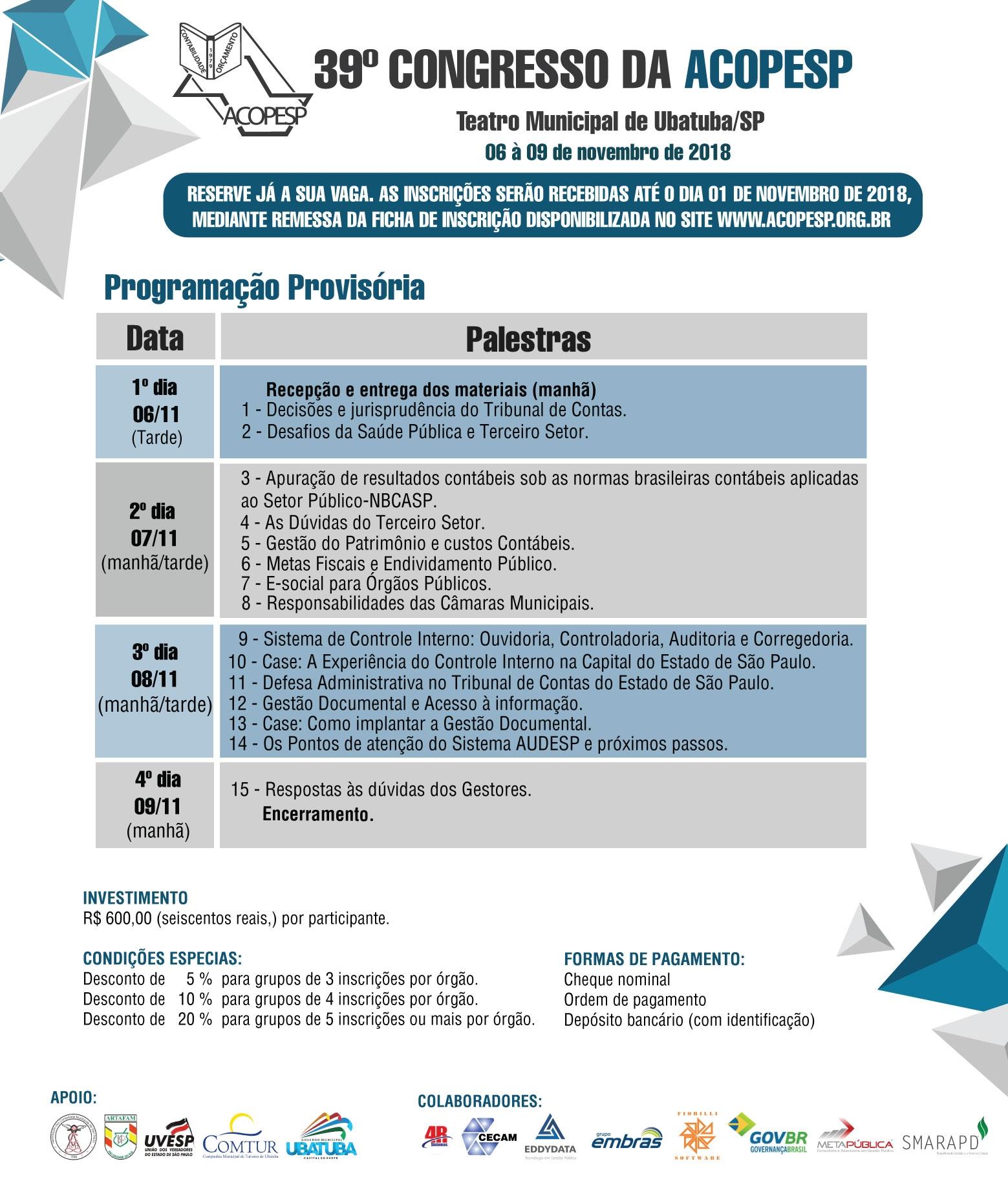 39º CONGRESSO DA ACOPESP - UBATUBA/SP